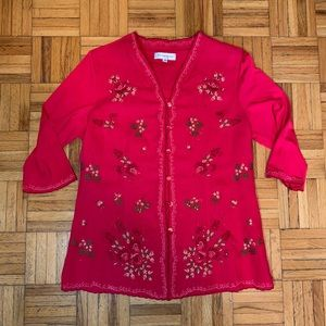 Chinese Style Red Pink Embroidered Women's Blouse